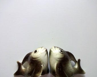 Vintage Kissing Fish Salt and Pepper Shakers 1960s