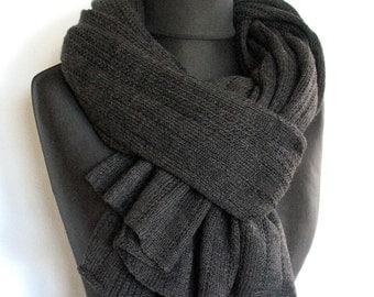 Scarf Jumbo Dark Gray Wool Mohair Acrylic