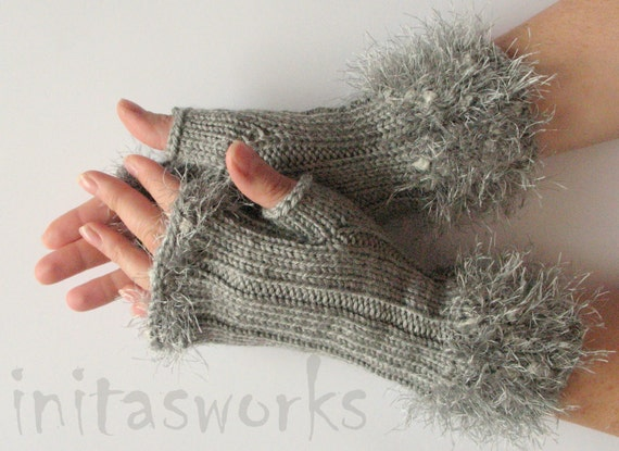 Fingerless Gloves Gray Arm Warmers Mittens 9 inch Knit, Wool Acrylic