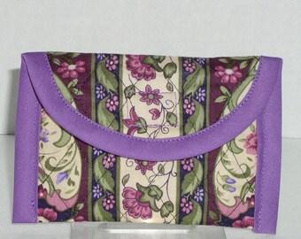 Business Card Case -Mauve Floral Stripe