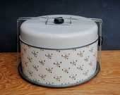 Vintage Metal Pie - Cake Carry Tin Four Piece 1950's Starburst Design Gold Black Pink