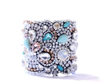 Bracelet Bridal Bracelet Bridal Cuff Mint, Opal, Rose, Turquoise and Champange Crystal Hollywood Style Cuff Perfect for your Wedding