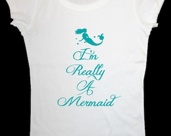 I'm Really A Mermaid design1b Women's Short Sleeve Scoop Neck Cotton T-Shirt Contoured Fit