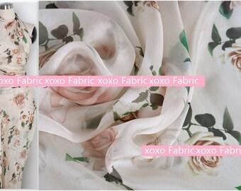 Silk Chiffon Fabric roses in light pink fashion design silk supplies