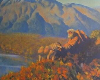 """Fred Machetanz """"Golden Years"""" Limited Edition Alaskan Artist Lithograph / Sourdough / Retirement Gift"""