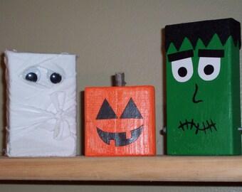 Halloween Wooden Block Figurines Frankenstein, Mummy, Pumpkin Jack o lantern Decoration