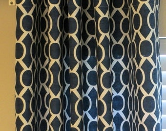 Navy Blue White Geometric Honeycomb Contemporary Trellis Sydney Curtains, Grommet  63 72 84 90 96 108 120 Long 25 50 Wide