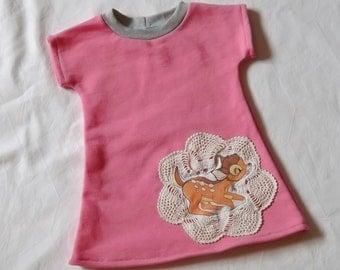 BAMBI 70s  Sweat Dress / Tunic organic Cotton 1-2 Years for cool Girls EU 74/80