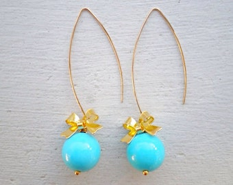Blue Turquoise Earrings/Turquoise Earrings/Long Earrings/Bow Earrings/Blue Bridesmaid Earrings/Turquoise Bridesmaid Earrings/Boho Earrings