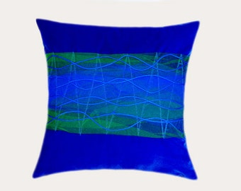 """Decorative Pillow Case, Abstract design Throw pillow cover, Royal Blue, Green colors, fits 18""""x18"""" insert, Cushion case"""