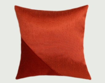 """Decorative Pillow case, Red Orange colors, embellished with Velvet fabric Throw pillow case, fits 16""""x16"""" insert, Cushion case, Toss case"""