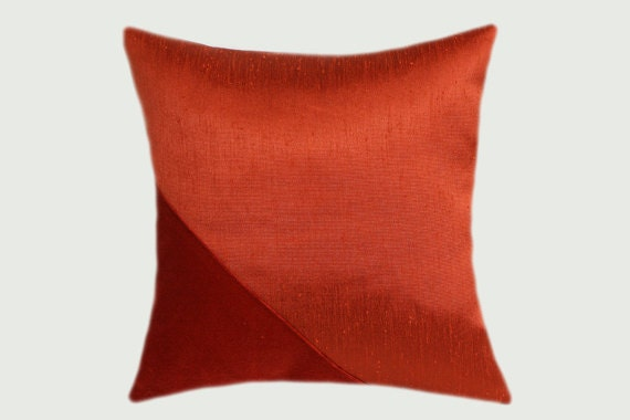 Decorative Pillow case Red Orange colors embellished with