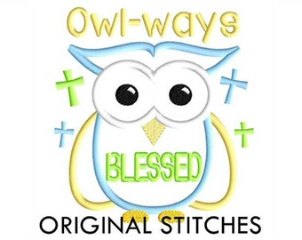 Blessed Owl Applique and Machine Embroidery Digital Design File 4x4 5x7 6x10 7x11