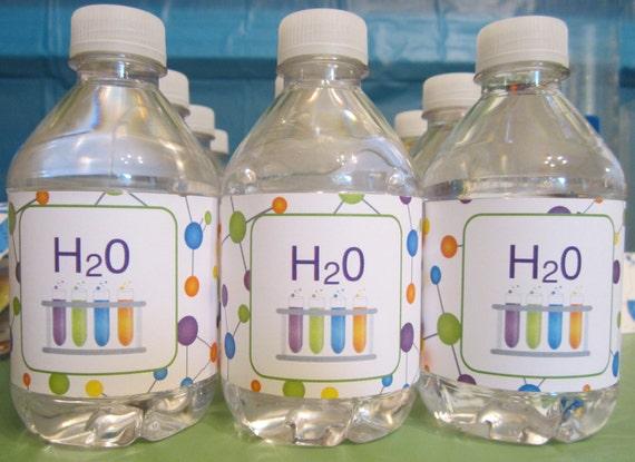science water bottle labels h20 test tubes molecules printable