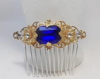 Sapphire blue GOLD bridal comb hair comb bridal accessories wedding accessories bridal comb filigree comb hair accessories victorian comb