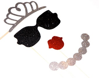 Hello Darling Photo Booth Prop Set - 4 piece set - Birthdays, Weddings, Parties - GLITTER Photobooth Props