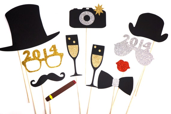 2014 New Years Eve Photo Booth Props - Silver and Gold - New Years Party Props - set of 11 - GLITTER photo props
