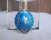 Siam brooch Niello sapphire blue vintage sterling silver Mekkala dancer topless goddess Thailandd