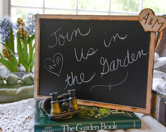 Large Wedding Wood Chalkboard personalized wood heart with bride and groom initials engraved