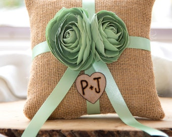 Mint ranunculus natural burlap personalized ring bearer pillow  shabby chic with engraved initials... many more colors available
