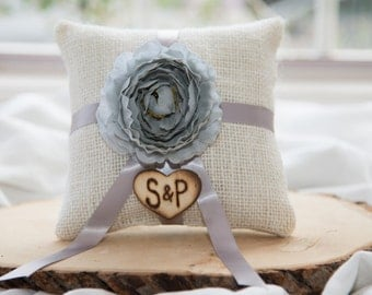 Gray ranunculus flower ivory burlap personalized ring bearer pillow  shabby chic with engraved initials... many more colors available