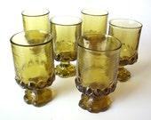 Set of 6 Heavy Vintage Glasses, Parfait Style, Mint Condition
