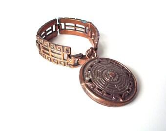 Vintage Mid Century Modern Cast Copper (or Bronze?) Pendant Bracelet, Steampunk