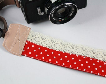 DSLR Camera strap (leather and webbing)---Lace style 10---polka dot---red