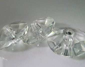 10 Vintage 24mm Crystal Clear Faceted Round Spacer Beads Bd1276