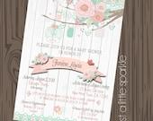 Vintage Birdcage Invite, Vintage Mason jar invite, Shabby Chic invitation, Vintage Baby Shower invite