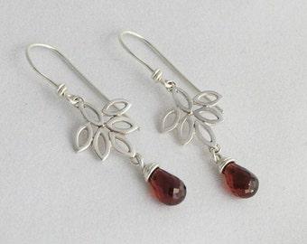 Dangle Lotus Earrings with a Garnet Drop - Silver Leaves Earrings - Drop Earrings - Flower Earrings