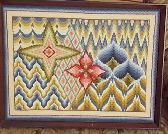 Vitnage Needlework Picture Abstract Design in Flame Pattern 1980s 17X13 inches Estate