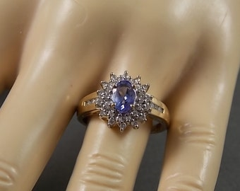 Vintage Tanzanite and Diamond Halo Ring 1.23Ctw Yellow Gold 3.4gm Size 8