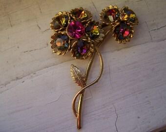 Vintage WATERMELON Rhinestone Flower Brooch Pin, floral pin, RHINESTONES,