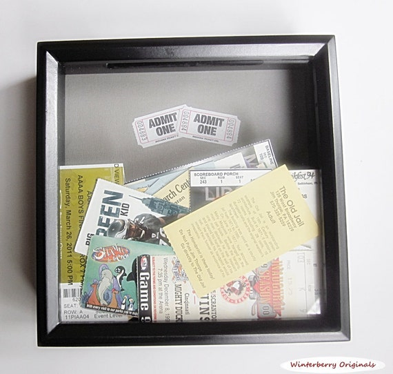 admit one ticket collection shadow box black drop slot. Black Bedroom Furniture Sets. Home Design Ideas