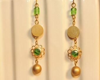 Handmade Vintage Peridot and Brass Dangle Earrings