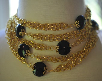 Handmade Vintage Long Black and Gold Wrap Necklace