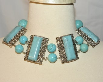 Handmade Vintage Large Turquoise Statement Necklace