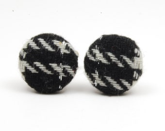 SALE Black Sparkle Upcycled Cufflinks - Recycled Fabric Cuff Links - Wedding Cufflinks For The Groom