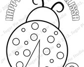 Personalized Printable Spring ladybug Birthday Party Favor childrens kids coloring page activity PDF or JPEG file