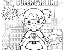 Personalized Printable Comic book SuperHero Girl Boy Birthday Party Favor childrens kids coloring page activity PDF or JPEG file