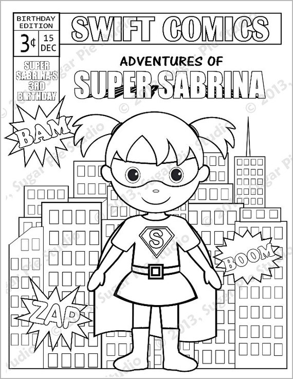 Comic book coloring pages to print ~ Personalized Printable Comic book SuperHero Girl by ...
