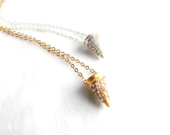 Crystal Spike Necklace, Layering Point Necklace Pave Crystals Silver Plated or Gold Plated Chain, Small Everyday Necklace