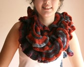 Ruffled Scarf in Grey and Rust - Mohair Scarflette - Spring Fall Winter Knit  Fashion - Women Teens Accessories