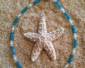 Beaded Anklet- Turquoise Blue and Bright Yellow