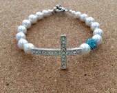 LAST ONE! Birthstone Cross Bracelet - Aqua Pave Bead/ Rhinestone Cross- Size 7-1/2 in-White Swarovski Pearl - March Birthday - USA Made