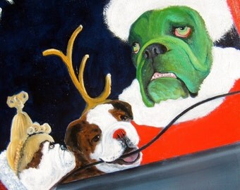 "English Bulldog Art Print/""Cindy Lou Bullywho and the Bullygrinch""/by Original Mike Holzer"