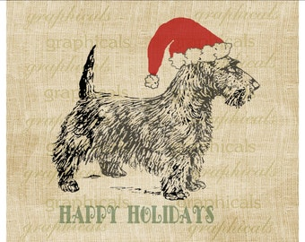 Christmas instant clip art Santa hat Scotty dog digital download image for iron on fabric burlap transfer decoupage pillow tag tote No 1912