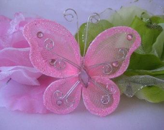"12 pcs, 3"" Pink Nylon Butterflies for Wedding Decor, Flower Arrangement, Table Scatters, Baptism Favors, Christening Favors, Butterfly Favor"