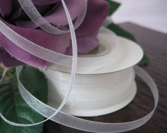 SALE White Sheer Organza Ribbon for Wedding, Baptism, Crafting, Tags, Party Favor, Sewing, 1/4 inch, 50 yards